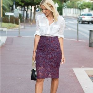 NWT ZARA Red & Purple floral lace pencil skirt